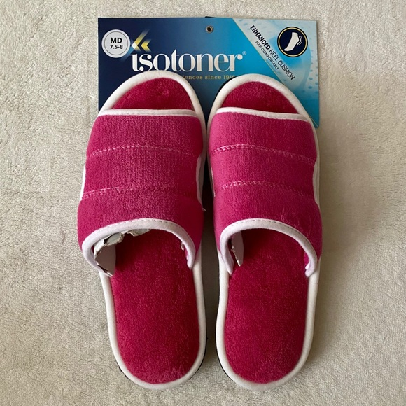 Isotoner Microterry Heel Cushioned Slide Slippers